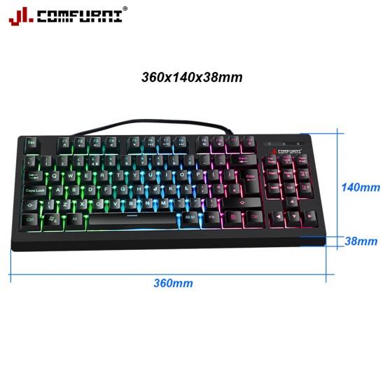 JL Comfurni Gaming Keyboard/ 7 Color LED backlit/ USB Wired-88 Keys [KB-G96BK]