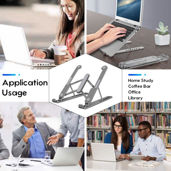 Laptop Stand, Aluminum Tablet Bracket Foldable and Adjustable Computer Notebook Stand(Space grey)