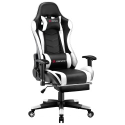 Narkissos Series Black&White| Gaming Chair with Footrest// Computer Swivel Desk Chair