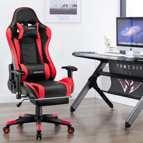Narkissos Series Black&Red| Gaming Chair with Footrest// Computer Swivel Desk Chair