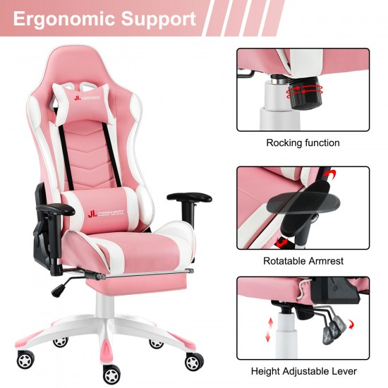 High Density Mould Shape Foam|Narkissos Series Pink|Gaming Chair with Footrest