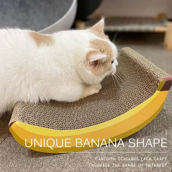 Banana-design Cat Kitten Corrugated Scratcher Scratching Pad Pet Toys Mat Board