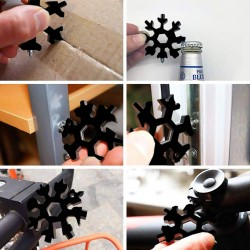 Stainless Steel Snowflake Multifunctional 18 in 1 Tool Hexagon Wrench Screwdriver/Allen Wrench/Bottle Opener/Ring Wrench/Bicycle Wrench