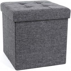 Folding Storage Chest Ottoman Footstool Portable Picnic Seat Versatile Space-saving CubesMax Load 300 kg Linenette Dark Grey 38 x 38 x 38 cm LSF82GYZ