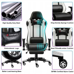Classic White |Gaming Chair with Footrest/Computer Chair