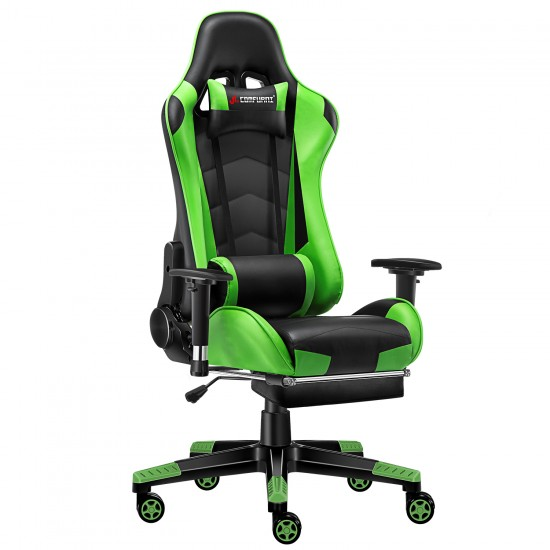 Classic Green | Gaming Chair with Footrest/Computer  Chair