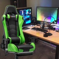 Classic Green   Gaming Chair with Footrest/Computer  Chair