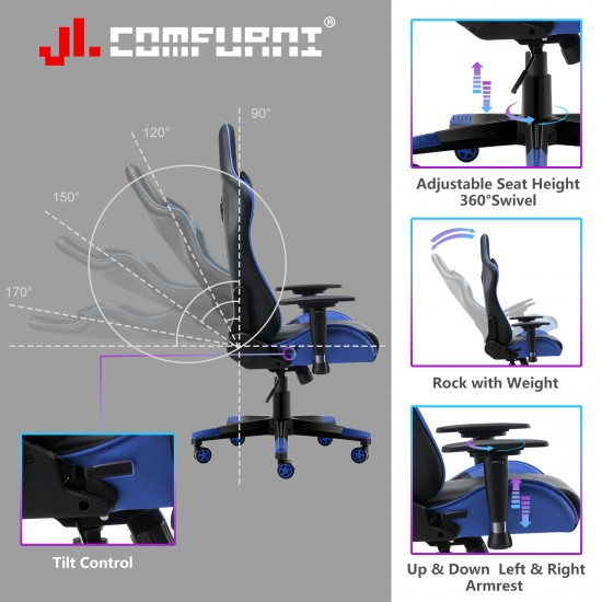 JL Comfurni | Classic Series | Racing Gaming Office Chair | Recliner Swivel Leather Computer Desk Chair