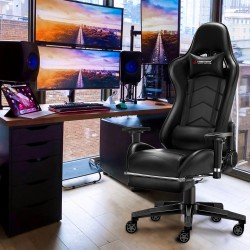 JL Comfurni   Classic Black   Gaming Chair with Footrest/Swivel Leather Desk Chair [S05]