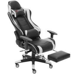 Classic White Line | Gaming Chair with Footrest/Computer Chairs