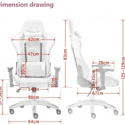 JL Comfurni | Pink Cat claw | Gaming Chair/Computer Chairs/ Swivel Leather Desk Chair [S09]