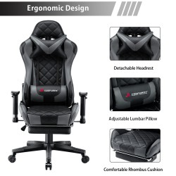JL Comfurni   Athena Argyle Series   Gaming Chair with Footrest/ Swivel Leather Desk Chair [V-JD]