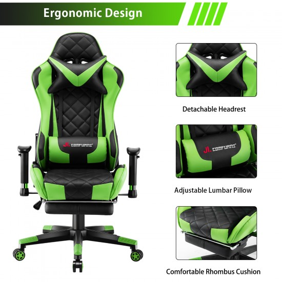 Athena Argyle Green   Gaming Chair With Footrest/Computer Desk Chair