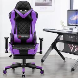 JL Comfurni | Athena Argyle Purple | Gaming Chair With Footrest/Computer Desk Chairs [V1-JDPP]