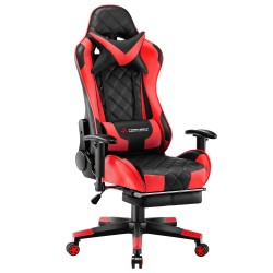 Athena Argyle Red | Gaming Chair With Footrest/Computer Desk Chairs [V1-JDRD]