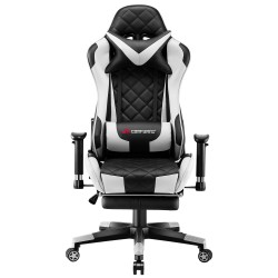 Athena Argyle White | Gaming Chair With Footrest/Computer Desk Chair
