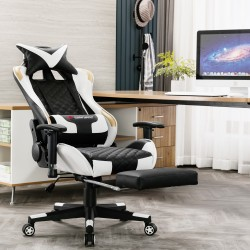 JL Comfurni | Athena Argyle Series | Gaming Chair with footrest /Computer Chairs/ Swivel Leather Desk Chair [V2-JD]