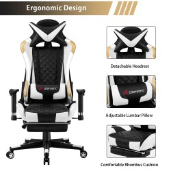 Athena Argyle Series | Gaming Chair with footrest /Computer Chairs/ Swivel Leather Desk Chair [V2-JD]