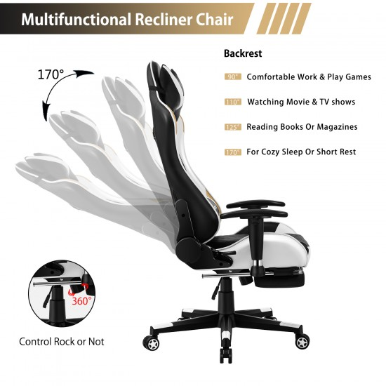Athena Argyle Series   Gaming Chair with footrest /Computer Chairs/ Swivel Leather Desk Chair