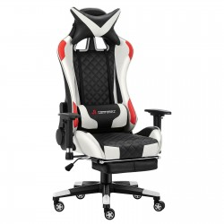 JL Comfurni | Athena Argyle Series | Gaming Chair with footrest /Computer Chairs/ Swivel Leather Desk Chair [White&Red]