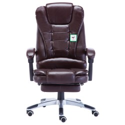 Retro Office Chair with Footrest| Recliner Swivel Leather Computer Chair