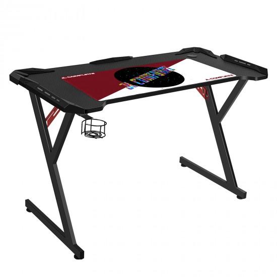 JL Comfurni | Z-Shaped Gaming Desk | PC Gamer Tables with Cup Holder[Black]