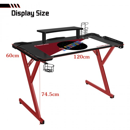 JL Comfurni | Z-Shaped Gaming Desk | PC Gamer Tables with Top Monitor Shelf/Cup Holder/Headphone Hook/Gaming Handle Rack[Red]